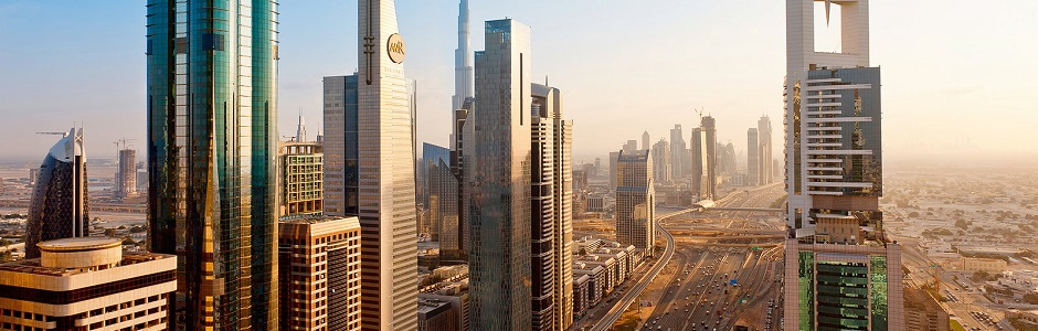 Dubai, Towering office and apartment towers along Sheikh Zayed Road